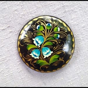 Vintage Black Lacquer Flower Brooch